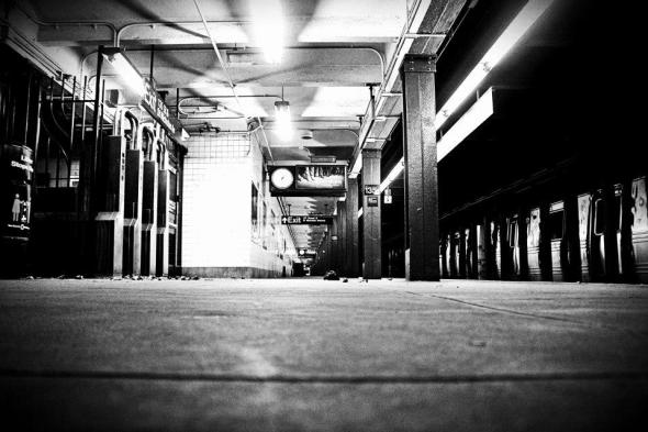 October 28th, 2012: A deserted subway station in Harlem after the subway system was shutdown.