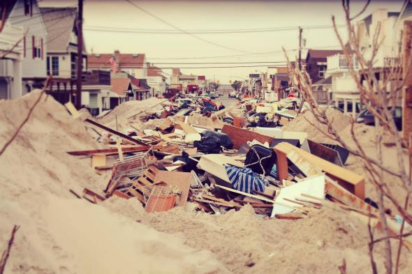 November 18th, 2012: Piles of sand and debris in Long Beach, NY.