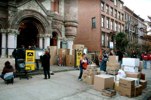 November 17th, 2012: Banners at an Occupy Sandy distribution hub at the Church of St. Luke and St. Matthew in Brooklyn.