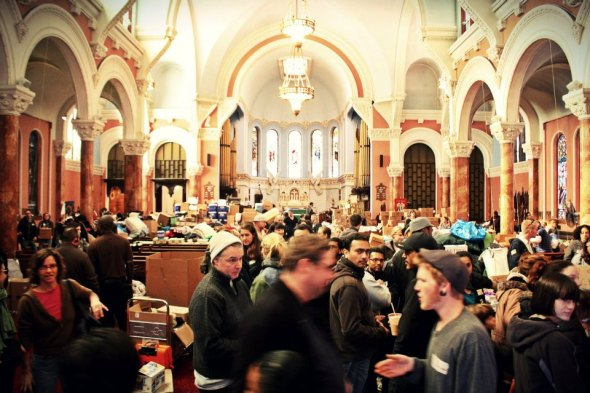 November 10th, 2012: Volunteers working hard at the Occupy Sandy distribution hub at the Church of St. Luke and St. Matthew in Brooklyn.