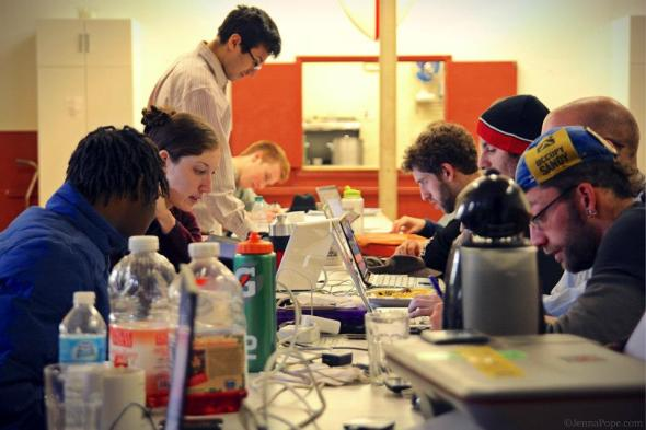 January 7th, 2013: Volunteers hard at work at the Occupy Sandy communications hub in Greenpoint, Brooklyn.