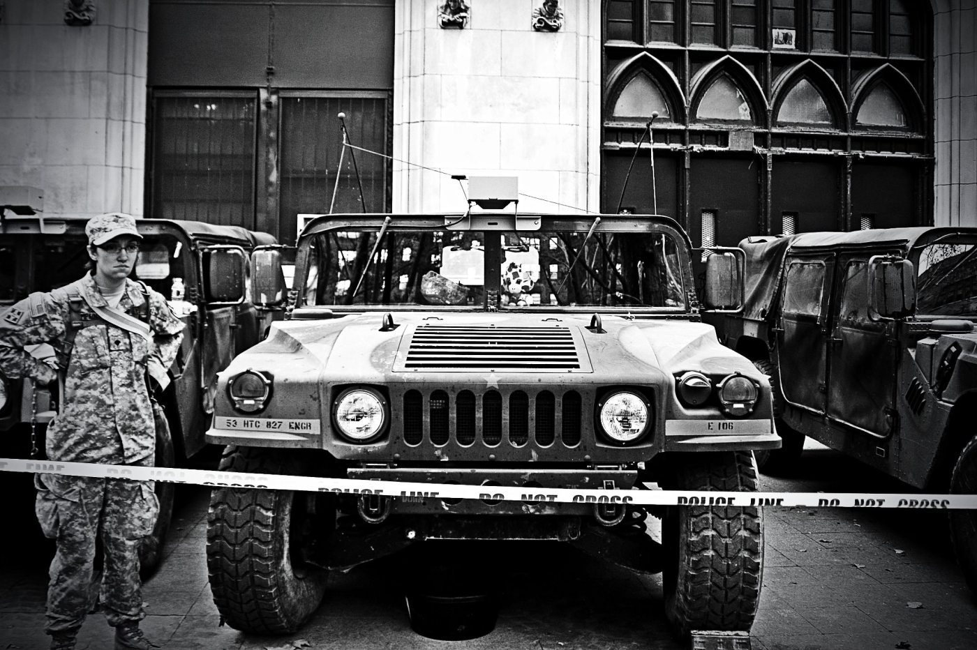 November 2nd, 2012: The National Guard stationed in Chinatown, NYC, where they were giving out food and water to residents in the area.