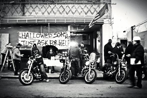 November 6th, 2012: The Hallowed Songs motorcycle club from Brooklyn responded in New Dorp Beach, and provided food, clothing, shelter, and supplies for the residents there.