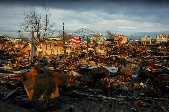November 13th, 2012: Breezy Point, Queens, where over 100 homes burned down during the hurricane due to downed power lines and gas leaks.