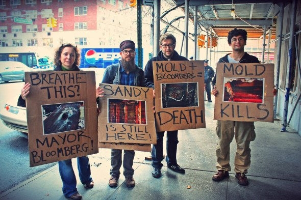 December 4th, 2012:  Occupy Faith NYC and members of the community gathered outside of Mayor Bloomberg's residence to speak out about the lack of resources being used to address the housing issue after hurricane Sandy and the misinformation about the dangers of mold.