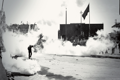 Tear gas filling Taksim Square.