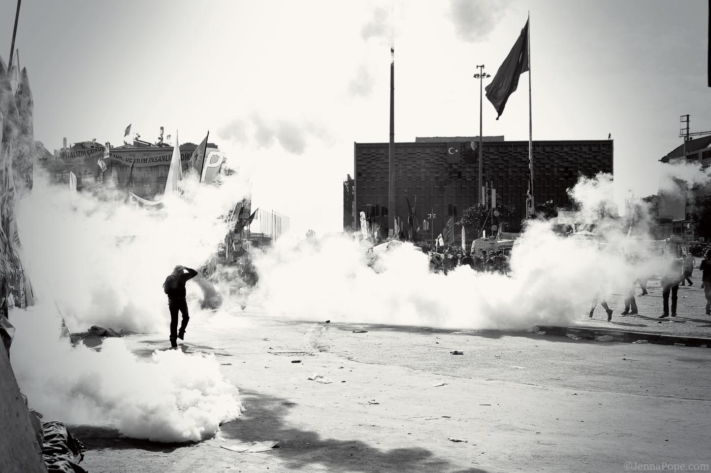 Tear gas filling Taksim Square.