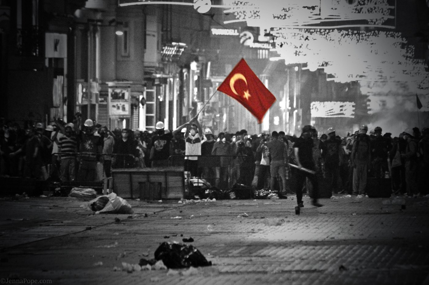 Thousand of protestors gathered on Istiklal Street.