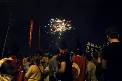 Fireworks going off above Gezi Park.