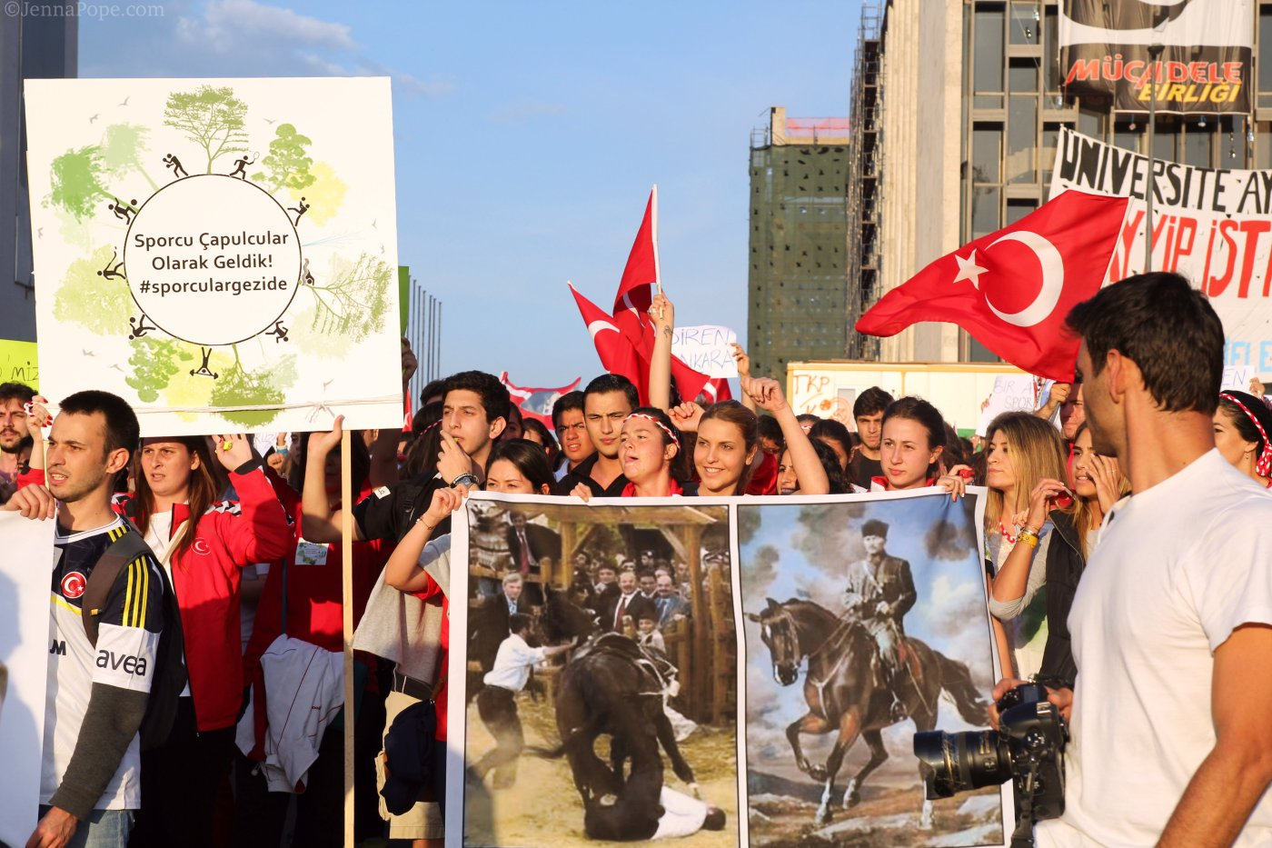 Protestors marching through Taksim Square.