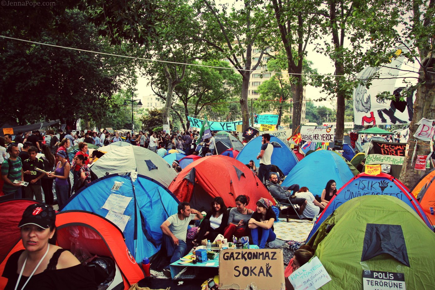 Tents set up in Gezi Park, where thousands of people camped out every night.