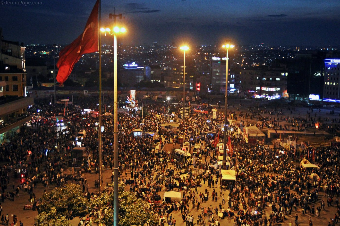 Thousands of people fill Taksim Square.